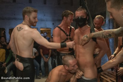Photo number 2 from Southern stud gets fucked and showered with cum in front of 100 men! shot for Bound in Public on Kink.com. Featuring Hayden Richards, Jordan Foster and Connor Maguire in hardcore BDSM & Fetish porn.