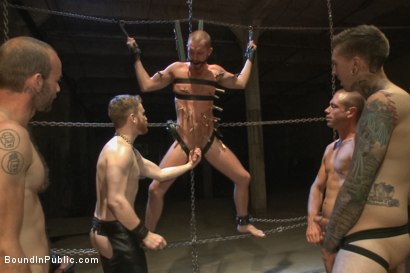 Photo number 9 from Southern stud gets fucked and showered with cum in front of 100 men! shot for Bound in Public on Kink.com. Featuring Hayden Richards, Jordan Foster and Connor Maguire in hardcore BDSM & Fetish porn.