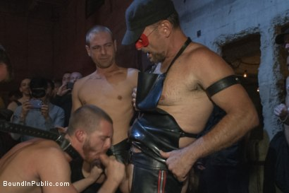 Photo number 5 from Southern stud gets fucked and showered with cum in front of 100 men! shot for Bound in Public on Kink.com. Featuring Hayden Richards, Jordan Foster and Connor Maguire in hardcore BDSM & Fetish porn.