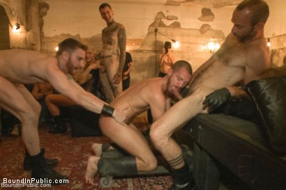 Photo number 1 from Cum slut fucked by party goers and tossed in an oil orgy shot for Bound in Public on Kink.com. Featuring Hayden Richards, Jordan Foster and Connor Maguire in hardcore BDSM & Fetish porn.