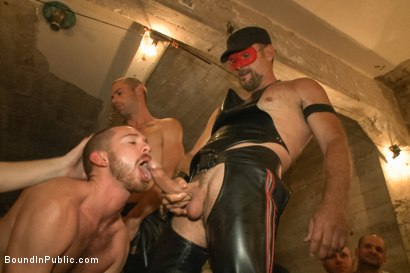 Photo number 2 from Cum slut fucked by party goers and tossed in an oil orgy shot for Bound in Public on Kink.com. Featuring Hayden Richards, Jordan Foster and Connor Maguire in hardcore BDSM & Fetish porn.