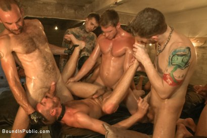 Photo number 6 from Cum slut fucked by party goers and tossed in an oil orgy shot for Bound in Public on Kink.com. Featuring Hayden Richards, Jordan Foster and Connor Maguire in hardcore BDSM & Fetish porn.