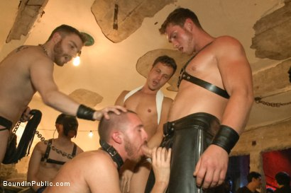 Photo number 5 from Cum slut fucked by party goers and tossed in an oil orgy shot for Bound in Public on Kink.com. Featuring Hayden Richards, Jordan Foster and Connor Maguire in hardcore BDSM & Fetish porn.
