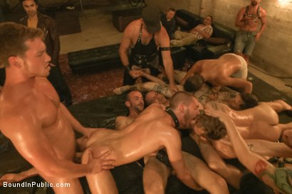 Photo number 14 from Cum slut fucked by party goers and tossed in an oil orgy shot for Bound in Public on Kink.com. Featuring Hayden Richards, Jordan Foster and Connor Maguire in hardcore BDSM & Fetish porn.