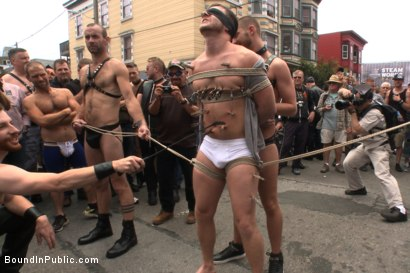 Photo number 4 from Naked stud bound, beaten and humiliated at Dore Alley Street Fair shot for Bound in Public on Kink.com. Featuring Hayden Richards, Brian Bonds and Rod Daily in hardcore BDSM & Fetish porn.