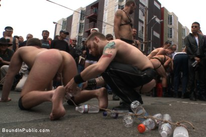 Photo number 5 from Naked stud bound, beaten and humiliated at Dore Alley Street Fair shot for Bound in Public on Kink.com. Featuring Hayden Richards, Brian Bonds and Rod Daily in hardcore BDSM & Fetish porn.