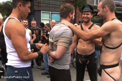 Photo number 1 from Naked stud bound, beaten and humiliated at Dore Alley Street Fair shot for Bound in Public on Kink.com. Featuring Hayden Richards, Brian Bonds and Rod Daily in hardcore BDSM & Fetish porn.