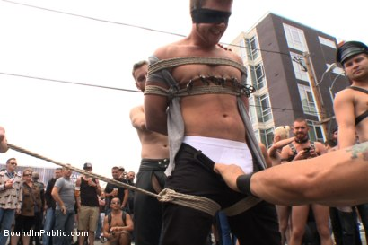 Photo number 2 from Naked stud bound, beaten and humiliated at Dore Alley Street Fair shot for Bound in Public on Kink.com. Featuring Hayden Richards, Brian Bonds and Rod Daily in hardcore BDSM & Fetish porn.