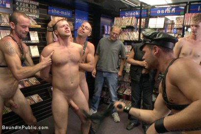 Photo number 7 from Cock hungry whore cattle prodded and fucked at Dore Alley Street Fair shot for Bound in Public on Kink.com. Featuring Hayden Richards and Brian Bonds in hardcore BDSM & Fetish porn.