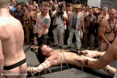 Photo number 1 from Cock hungry whore cattle prodded and fucked at Dore Alley Street Fair shot for Bound in Public on Kink.com. Featuring Hayden Richards and Brian Bonds in hardcore BDSM & Fetish porn.