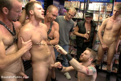Photo number 5 from Cock hungry whore cattle prodded and fucked at Dore Alley Street Fair shot for Bound in Public on Kink.com. Featuring Hayden Richards and Brian Bonds in hardcore BDSM & Fetish porn.