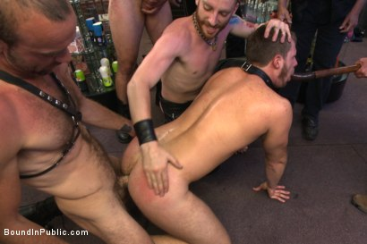 Photo number 14 from Cock hungry whore cattle prodded and fucked at Dore Alley Street Fair shot for Bound in Public on Kink.com. Featuring Hayden Richards and Brian Bonds in hardcore BDSM & Fetish porn.