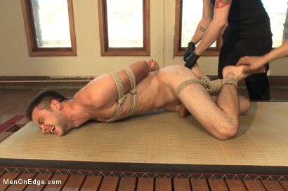 Photo number 13 from Straight stud's huge uncut cock edged by two guys for the first time shot for Men On Edge on Kink.com. Featuring James Riker in hardcore BDSM & Fetish porn.