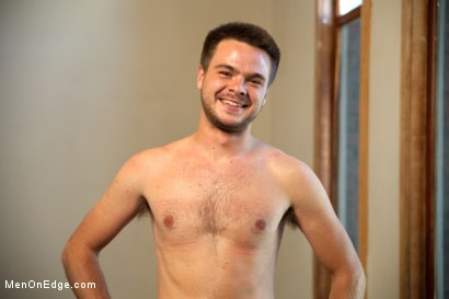 Photo number 15 from Straight stud's huge uncut cock edged by two guys for the first time shot for Men On Edge on Kink.com. Featuring James Riker in hardcore BDSM & Fetish porn.