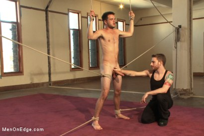 Photo number 6 from Straight stud's huge uncut cock edged by two guys for the first time shot for Men On Edge on Kink.com. Featuring James Riker in hardcore BDSM & Fetish porn.