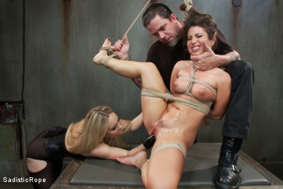 Photo number 11 from Bratty Whore Experiences Brutal Suffering-Live Show Edited shot for Sadistic Rope on Kink.com. Featuring Serena Blair, The Pope and Aiden Starr in hardcore BDSM & Fetish porn.
