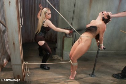 Photo number 5 from Bratty Whore Experiences Brutal Suffering-Live Show Edited shot for Sadistic Rope on Kink.com. Featuring Serena Blair, The Pope and Aiden Starr in hardcore BDSM & Fetish porn.