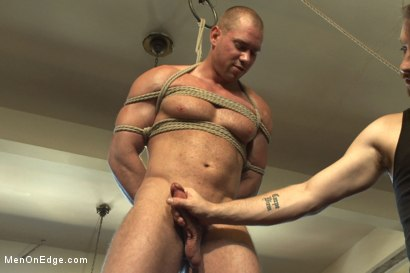 Photo number 9 from  Bodybuilder gets edged by a guy for the first time shot for Men On Edge on Kink.com. Featuring Beau Warner in hardcore BDSM & Fetish porn.