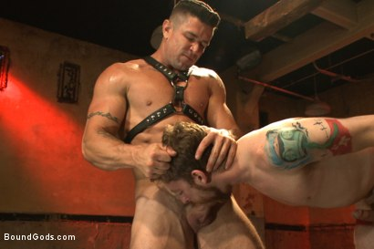 Photo number 3 from The official greeting of the dom of the house shot for Bound Gods on Kink.com. Featuring Sebastian Keys and Trenton Ducati in hardcore BDSM & Fetish porn.