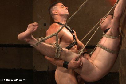 Photo number 13 from The official greeting of the dom of the house shot for Bound Gods on Kink.com. Featuring Sebastian Keys and Trenton Ducati in hardcore BDSM & Fetish porn.