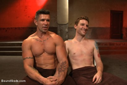 Photo number 15 from The official greeting of the dom of the house shot for Bound Gods on Kink.com. Featuring Sebastian Keys and Trenton Ducati in hardcore BDSM & Fetish porn.