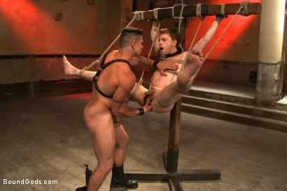 Photo number 11 from The official greeting of the dom of the house shot for Bound Gods on Kink.com. Featuring Sebastian Keys and Trenton Ducati in hardcore BDSM & Fetish porn.