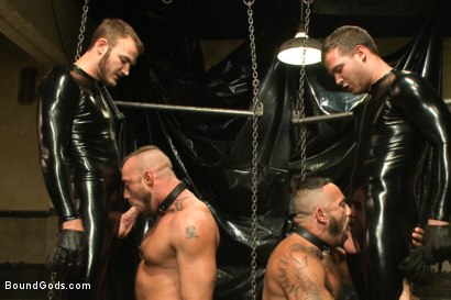 Photo number 1 from Onyx vs Redz - Pre-Folsom Street Fair Live Show shot for Bound Gods on Kink.com. Featuring Van Darkholme, Christian Wilde, Jessie Colter, Alessio Romero and Hayden Richards in hardcore BDSM & Fetish porn.