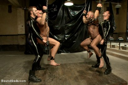 Photo number 5 from Onyx vs Redz - Pre-Folsom Street Fair Live Show shot for Bound Gods on Kink.com. Featuring Van Darkholme, Christian Wilde, Jessie Colter, Alessio Romero and Hayden Richards in hardcore BDSM & Fetish porn.