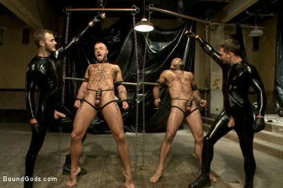 Photo number 8 from Onyx vs Redz - Pre-Folsom Street Fair Live Show shot for Bound Gods on Kink.com. Featuring Van Darkholme, Christian Wilde, Jessie Colter, Alessio Romero and Hayden Richards in hardcore BDSM & Fetish porn.