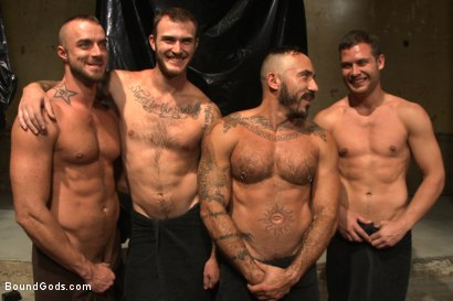 Photo number 15 from Onyx vs Redz - Pre-Folsom Street Fair Live Show shot for Bound Gods on Kink.com. Featuring Van Darkholme, Christian Wilde, Jessie Colter, Alessio Romero and Hayden Richards in hardcore BDSM & Fetish porn.