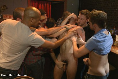 Photo number 4 from Gangbang and cum for a stuck up go-go boy shot for Bound in Public on Kink.com. Featuring Isaac Hardy, Connor Maguire and Dayton O'Connor in hardcore BDSM & Fetish porn.