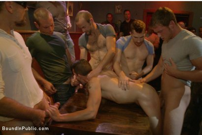 Photo number 5 from Gangbang and cum for a stuck up go-go boy shot for Bound in Public on Kink.com. Featuring Isaac Hardy, Connor Maguire and Dayton O'Connor in hardcore BDSM & Fetish porn.