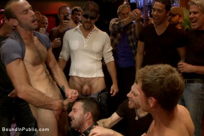 Photo number 13 from Gangbang and cum for a stuck up go-go boy shot for Bound in Public on Kink.com. Featuring Isaac Hardy, Connor Maguire and Dayton O'Connor in hardcore BDSM & Fetish porn.