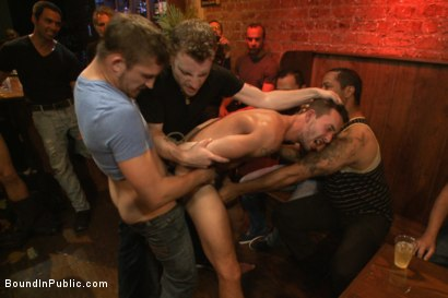 Photo number 11 from Gangbang and cum for a stuck up go-go boy shot for Bound in Public on Kink.com. Featuring Isaac Hardy, Connor Maguire and Dayton O'Connor in hardcore BDSM & Fetish porn.