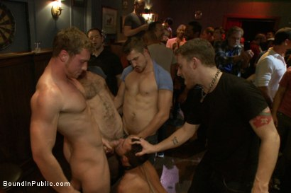 Photo number 8 from Gangbang and cum for a stuck up go-go boy shot for Bound in Public on Kink.com. Featuring Isaac Hardy, Connor Maguire and Dayton O'Connor in hardcore BDSM & Fetish porn.