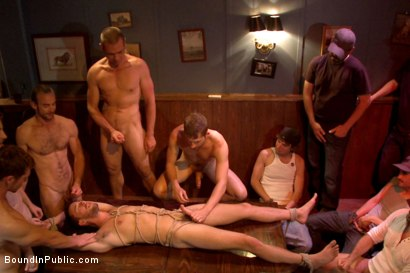 Photo number 12 from Ripped go-go boy beaten, fucked and covered in cum  shot for Bound in Public on Kink.com. Featuring Isaac Hardy, Connor Maguire and Dayton O'Connor in hardcore BDSM & Fetish porn.