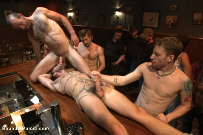 Photo number 7 from Ripped go-go boy beaten, fucked and covered in cum  shot for Bound in Public on Kink.com. Featuring Isaac Hardy, Connor Maguire and Dayton O'Connor in hardcore BDSM & Fetish porn.