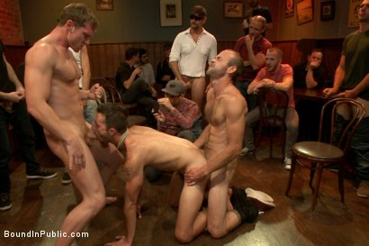 Photo number 4 from Ripped go-go boy beaten, fucked and covered in cum  shot for Bound in Public on Kink.com. Featuring Isaac Hardy, Connor Maguire and Dayton O'Connor in hardcore BDSM & Fetish porn.