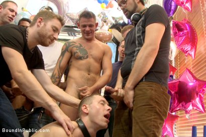 Photo number 13 from The Balloon Shop Whore shot for Bound in Public on Kink.com. Featuring Jace Chambers, Presley Wright and Rich Kelly in hardcore BDSM & Fetish porn.