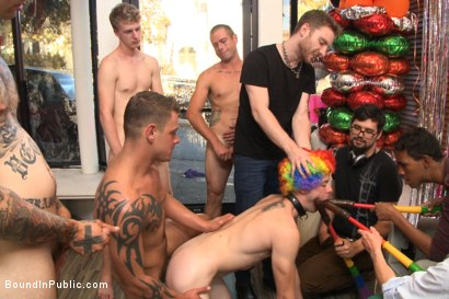 Photo number 9 from Greedy whore gang banged by horny dudes at a local balloon shop shot for Bound in Public on Kink.com. Featuring Jace Chambers, Presley Wright and Rich Kelly in hardcore BDSM & Fetish porn.