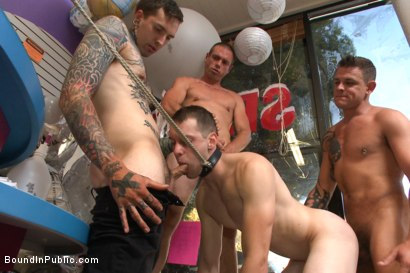 Photo number 12 from Greedy whore gang banged by horny dudes at a local balloon shop shot for Bound in Public on Kink.com. Featuring Jace Chambers, Presley Wright and Rich Kelly in hardcore BDSM & Fetish porn.