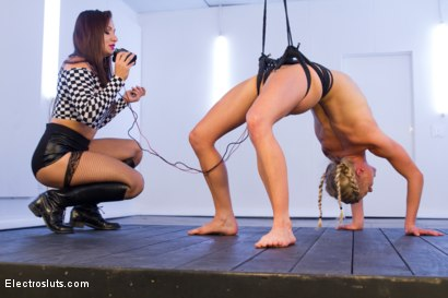 Photo number 9 from Bella Bends: Gymnast Electrified! shot for Electro Sluts on Kink.com. Featuring Serene Siren  and Lea Lexis in hardcore BDSM & Fetish porn.