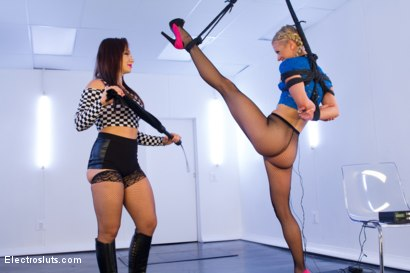Photo number 12 from Bella Bends: Gymnast Electrified! shot for Electro Sluts on Kink.com. Featuring Serene Siren  and Lea Lexis in hardcore BDSM & Fetish porn.