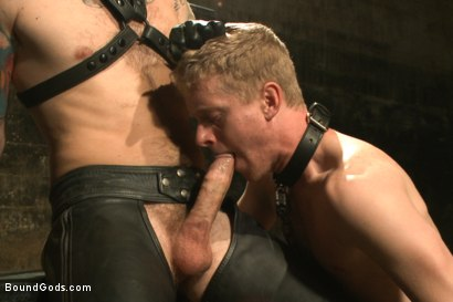 "Photo number 4 from ""You're no longer human today. You're my object!"" shot for Bound Gods on Kink.com. Featuring Liam Harkmoore and Christian Wilde in hardcore BDSM & Fetish porn."