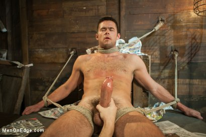 Photo number 14 from Hung stud with a giant cock relentlessly edged against his will shot for Men On Edge on Kink.com. Featuring Mike de Marko in hardcore BDSM & Fetish porn.
