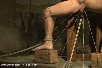 Photo number 8 from Straight stud takes clover clamps to the balls shot for 30 Minutes of Torment on Kink.com. Featuring Shawn Fox in hardcore BDSM & Fetish porn.