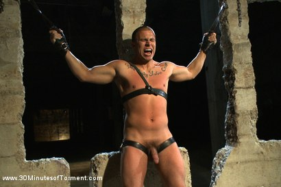 Photo number 7 from Straight stud takes clover clamps to the balls shot for 30 Minutes of Torment on Kink.com. Featuring Eli Hunter in hardcore BDSM & Fetish porn.