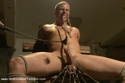 Photo number 13 from Straight stud takes clover clamps to the balls shot for 30 Minutes of Torment on Kink.com. Featuring Eli Hunter in hardcore BDSM & Fetish porn.