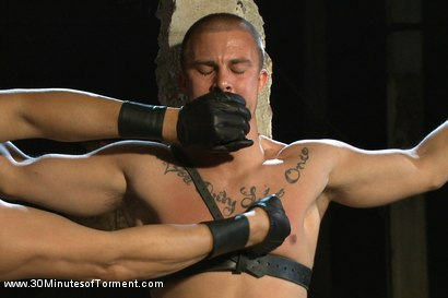Photo number 4 from Straight stud takes clover clamps to the balls shot for 30 Minutes of Torment on Kink.com. Featuring Eli Hunter in hardcore BDSM & Fetish porn.
