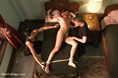 Photo number 14 from Hairy dude gets his uncut cock edged! shot for Men On Edge on Kink.com. Featuring Drake Temple in hardcore BDSM & Fetish porn.
